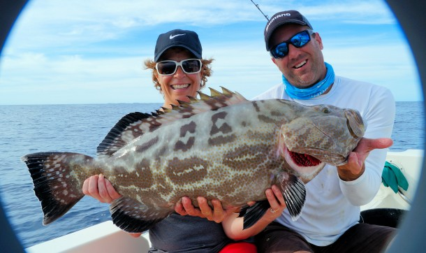 first time angler with a giant Black Grouper released