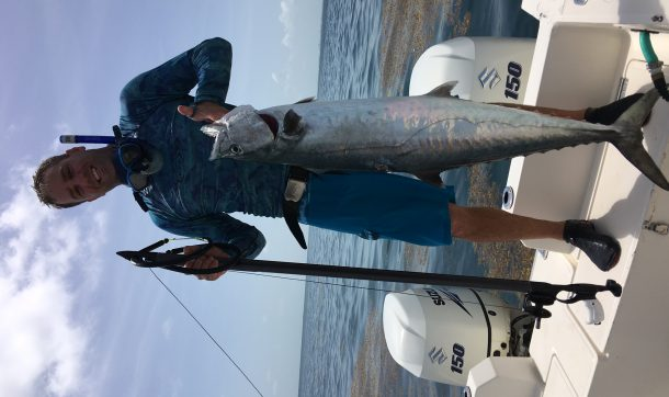 sideways per format, but this is a 34lb kingfish speared in late July from the reef